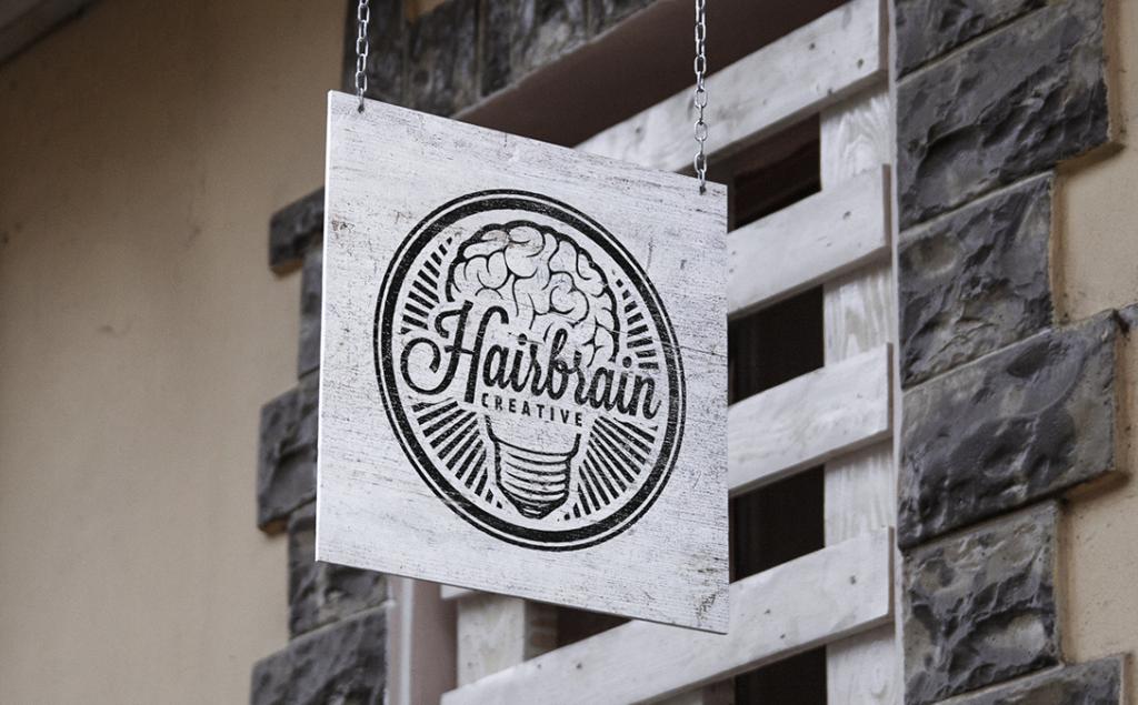 Hairbrain Creative Shop Sign